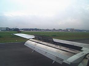 ヤンゴン国際空港へ着陸